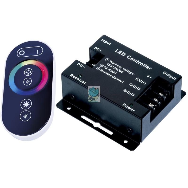 کنترلر RGB رادیویی لمسی 24 آمپر 12 ولت - کنترلر رادیویی  - خرید کنترلر RGB رادیویی