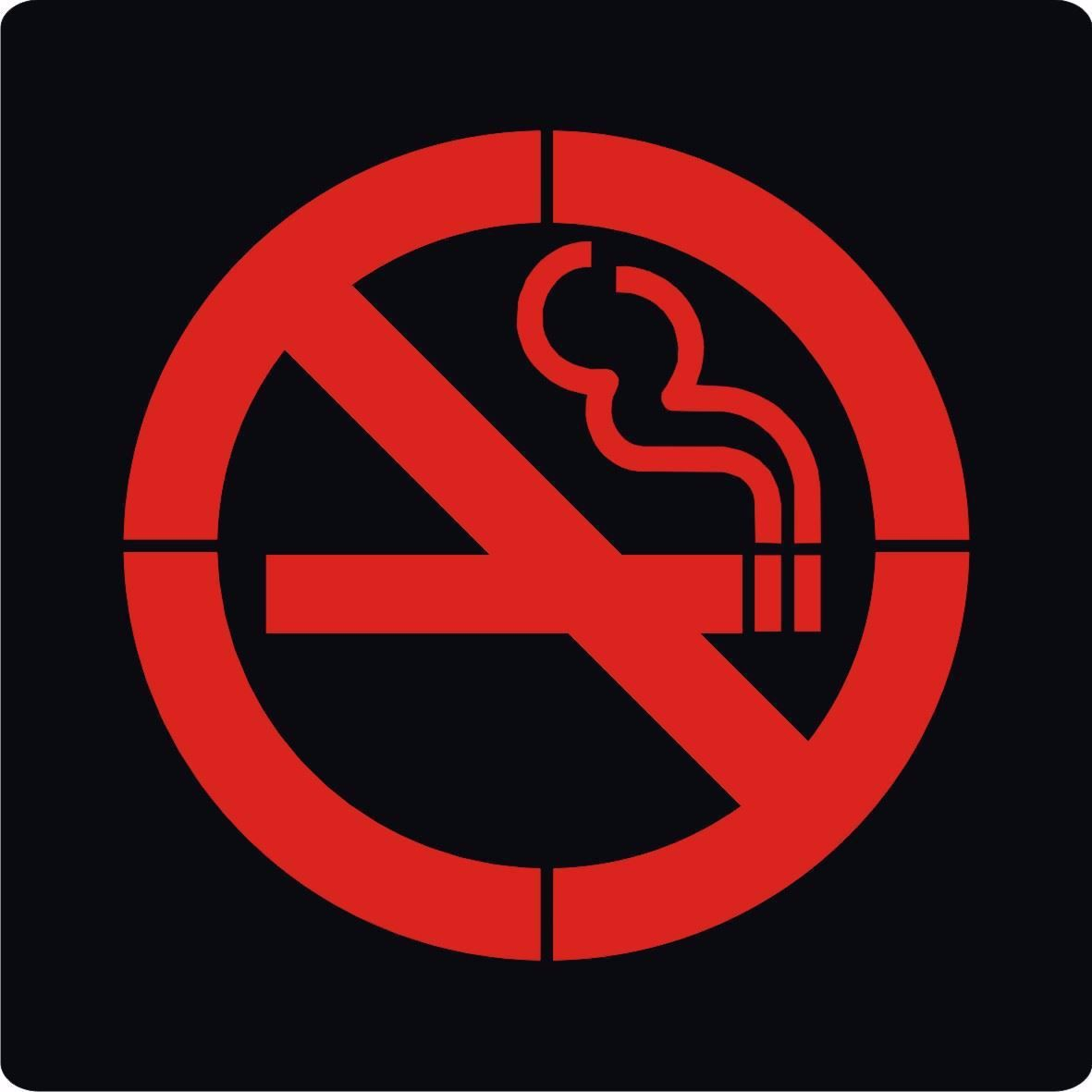 سنگ نورانی مربع ضد آب تک رنگ طرح سیگار ممنوع سایز 10 سانت 12 ولت مدل PL10N