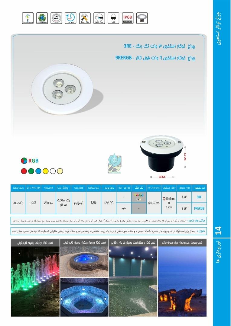چراغ توکار استخری مولتی کالر 3 وات